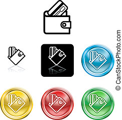 wallet and credit card icon symbol - Several versions of an...