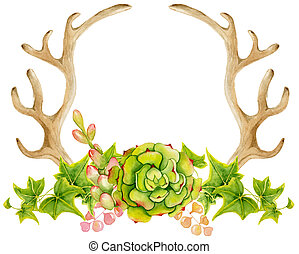 Watercolor antler with succulent, cactus, and leaves. Hand...