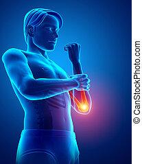 Men Feeling the Elbow Pain Pain - 3d Illustration of Men...