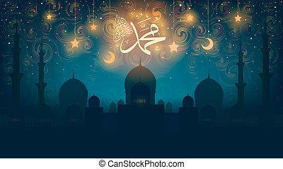 vara, mawlid, medel, -, fred, på, manuskript, Muhammad,...