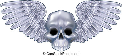 winged skull  illustration