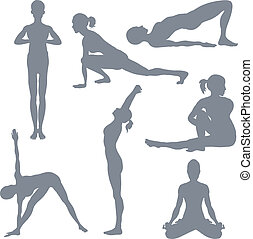 Yoga postures. A set of yoga postures silhouettes.