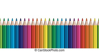seamless colored pencils row