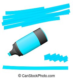 highlighter with markings - blue colored high lighter with...