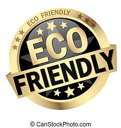 Button Eco friendly - colored button with banner and text...
