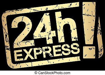 gold stamp with text 24h Express - grunge stamp with frame...