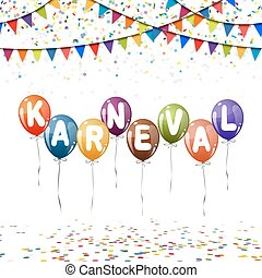 colored balloons, confetti and garlands for carnival -...