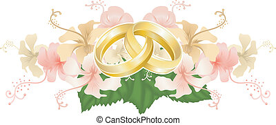 Wedding design intertwined wedding rings and hibiscus -...