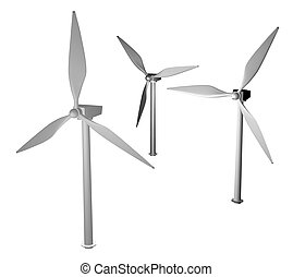 3d greyscale wind turbine - 3d render of wind turbines...