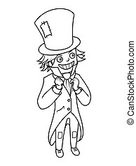Mad hatter character coloring book vector illustration....