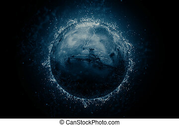 Planet in water - Mars. Science fiction art. Solar system....