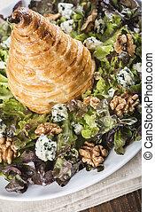 salada, noz, pêra, alface, Massa, sopro