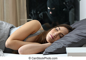 Woman sleeping with an intruder watching - Tranquil woman...