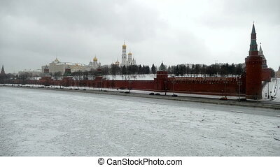 Kremlin in winter and the frozen Moscow River