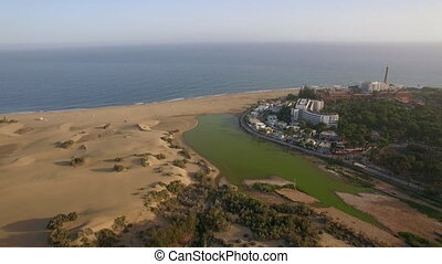 Aerial shot of Gran Canaria coast with resort - Aerial view...