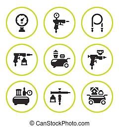 compresor, Conjunto, accesorios, redondo, iconos