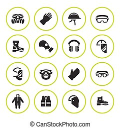 Set round icons of personal protective equipment isolated on...