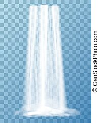 Realistic vector waterfall with clear water. Natural element...
