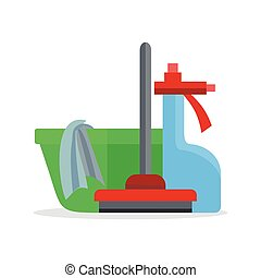 Banner with Basin, Duster, Broom, Glass Cleaner - Cleaning...
