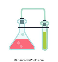 laboratory Glassware Illustration in Flat Style - Chemical...