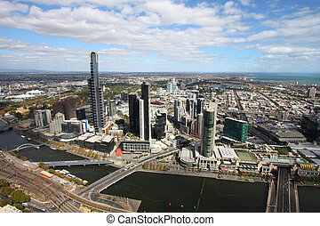 Melbourne - Beautiful cityscape of Melbourne and Yarra...