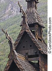 Traditional norwegian stave church detail. Borgund. Travel...