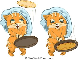Shrovetide russian holiday. Cat cook fries pancakes....