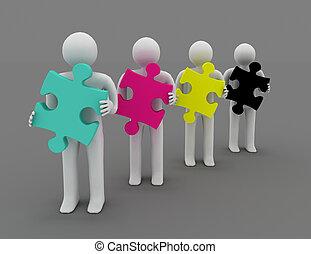 CMYK concept. 3d man with puzzle.