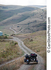 Sidecar motorcycle offroad - Color image of a sidecar...