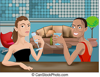 two beautiful woman in a bar