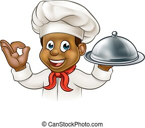 Cartoon Black Chef Holding Plate or Platter - A black chef...