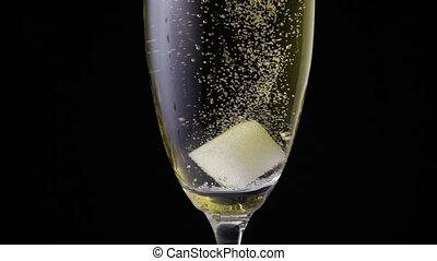 Slow mo a sugar cube in a glass of champagne wine
