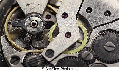 old clock gear mechanism - old clock gear steel mechanism.