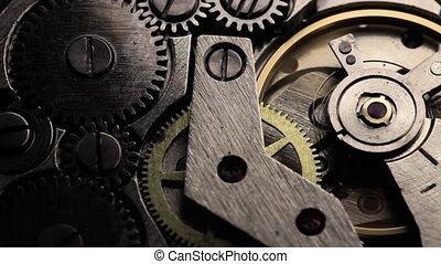 old clock gear mechanism - old clock gear steel mechanism....