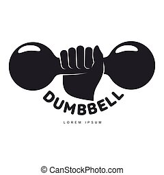 Graphic logo template with hand holding iron cast dumbbell