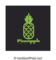 Two tone assymmetric graphic pineapple logo template, vector...