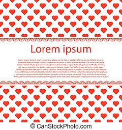 Valentines Day Vintage Background With red hearts and text stripe