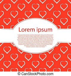 Valentine's day or Wedding card. White hearts on red vector background and oval frame for text