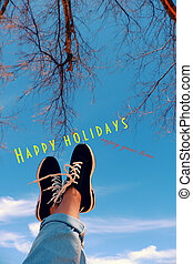 happy summer holiday, legs up to sky