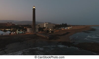 Maspalomas Lighthouse on Gran Canaria, aerial view - Aerial...