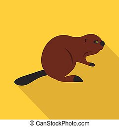 North American beaver icon, flat style - North American...