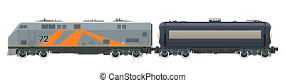 Orange Locomotive with Tank Car Isolated - Orange Locomotive...