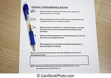 Overall Performance Rating survey concept with ball pen