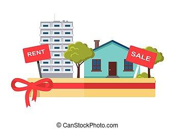 Real Estate Concept Illustration in Flat Design. - Real...