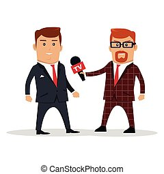 Interview on TV Concept Vector Illustration - Interview on...