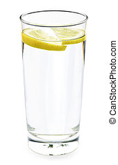 Glass of water with lemon - Full glass of water with lemon...