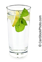 Glass of water with lemon and mint - Full glass of water...