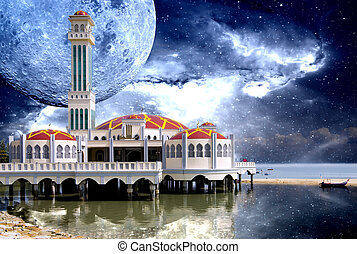 Mosque with Galactic Background - A beautiful mosque on...