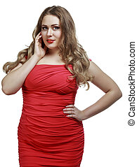 plus size model - beautiful plus size model, isolated...