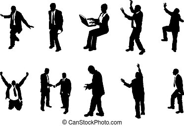 concept business people silhouettes - A series of business...